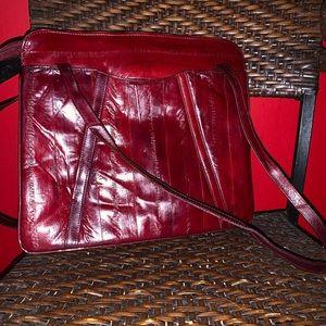 Vintage mahogany leather handbag